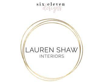 256 - Lauren Shaw, LOGO Premade Logo Design, Branding, Blog Header, Blog Title, Business, Brand, Blogger, Modern, Black and Gold, Simple