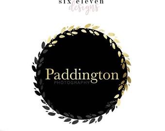 288 - Paddington, LOGO Premade Logo Design, Blog Header, Blog Title, Business, Boutique, Blogger, Entrepreneur, Wreath, Black, Gold, Strong