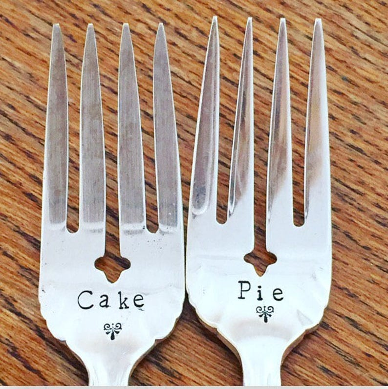Cake and Pie ~ Vintage ~ Hand Stamped ~ Fork Set