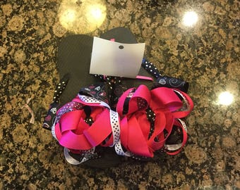 Ribbon wrapped black and pink layered flip flops size 1-2 with crystals