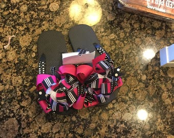 Ribbon wrapped black and pink layered bow flip flops size 2-3 with crystals