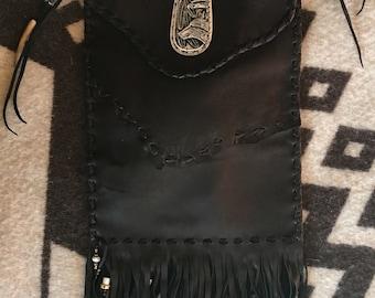 Handmade Black deerskin Bag