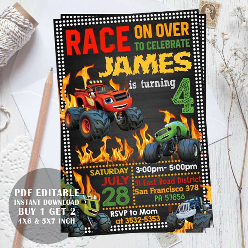 blaze and the monster machines invitations, blaze invitations, blaze  birthday, blaze invitation, blaze and the monster machines editable pdf