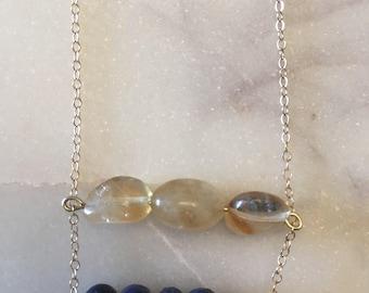Double bar gemstone necklace