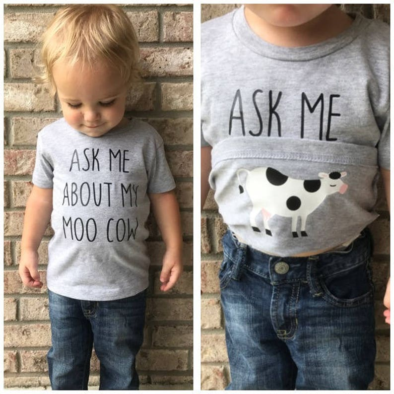 Ask Me About My Moo Cow Shirt Funny Kids T-Shirt Moo Cow image 0