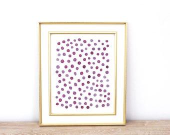 Abstract Print, Pink Dots, Minimal Print, Watercolor Wall Art, Instant Download