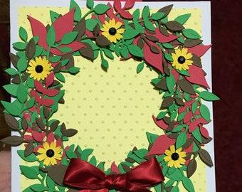 Sunflower Wreath Card, Birthday Greeting Card, Summer Card, Handmade Anniversary Card, Get Well Card, Retirement Card, Graduation card