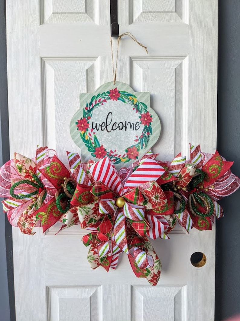 Welcome Poinsettia Wreath Rail  Completed image 0