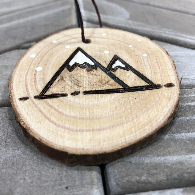 Christmas Mountains Gifts Wood Burned Hand Painted Handmade Rustic Ornaments