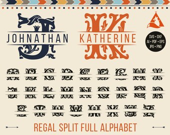 Split Monogram Alphabet Svg New Regal Font Letters Royal Ornate Initials For Cricut Silhouette Downloads Dxf Png Ai Pdf
