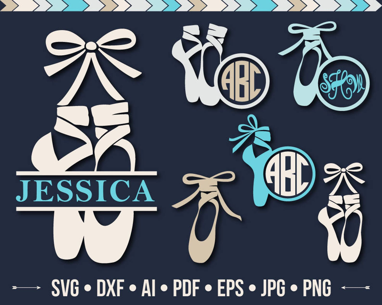 ballet shoes svg pointe shoe svg princess files svg little ballerina monogram frame svg silhouette dance designs cutting files d