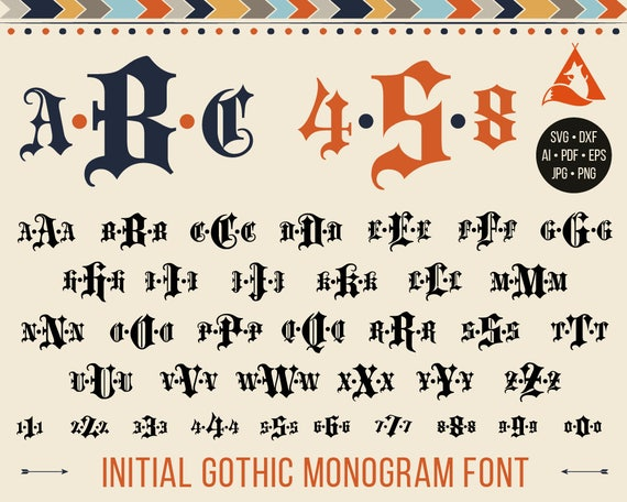 Gothic Font Svg Goth Monogram Letters Old English