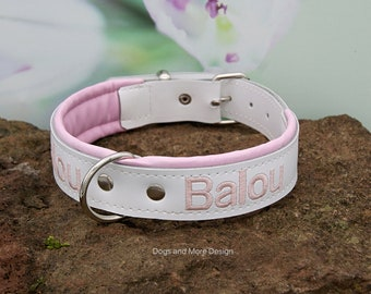 8edceac2d618 Personalized Leather Dog Collar - Dog Collar with Name - Soft Padded Dog  Collar - White with soft pink - custom made collar - pink and white