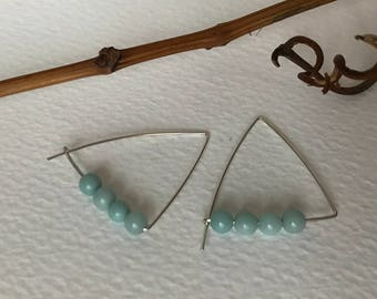 Arracades Silver i amazonite. Earrings Silver and Amazonite.