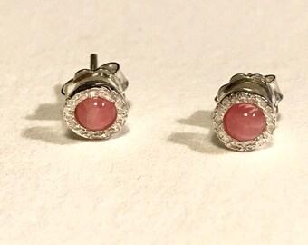 mini silver earrings, with rodrocrosita