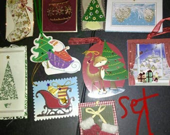3D Premium Christmas Present Tags Labels with Embellishments - 10 tags per set