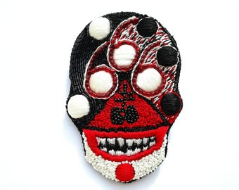 """Embroidered brooch """"666"""""""