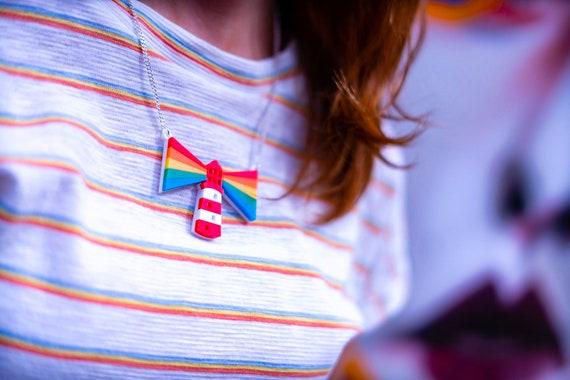 Rainbow Lighthouse Necklace, rainbow jewellery, acrylic necklace
