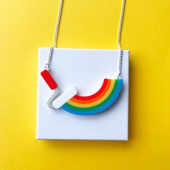 Rainbow Necklace, rainbow jewellery, acrylic necklace