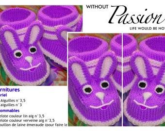b5561441bc6 Modèle bottines chaussons en tricot pour bébé Patron tutoriels français en  format pdf