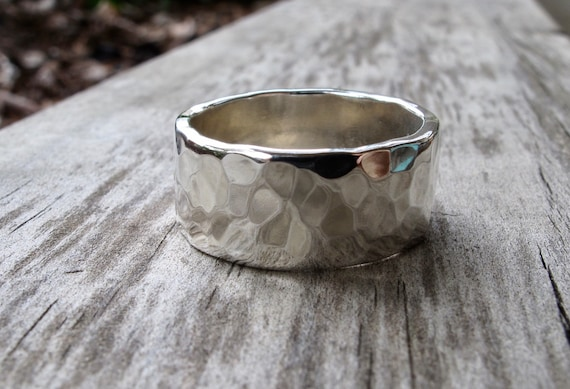 satin oxidized finish Dimpled silver statement ring very wide hammered sterling silver ring