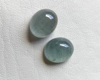 Full luster. Good quality aquamarine cabochon 18x15mm size Natural Moss Aquamarine oval shaped cabochon