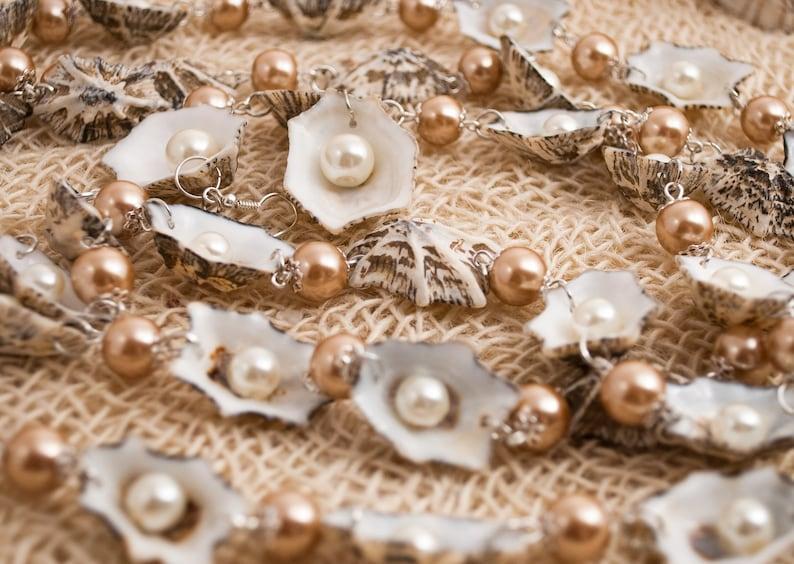 Necklace of seashells in the form of stars \u2012 Earrings \u2012 Sea theme \u2012 Seashell Jewelry Set \u2012 Seashell necklace \u2012 Beads necklace \u2012 Beige color