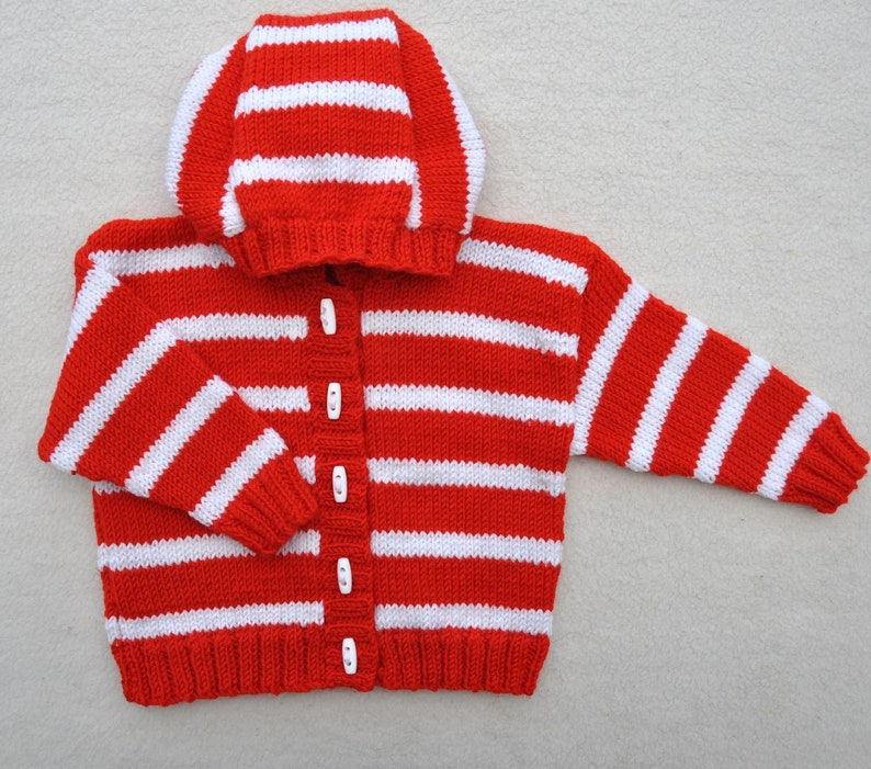 0929d359e Baby / Toddlers Stripey Hoodie hand knitted cardigan with | Etsy