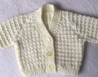 0-3 months - V-neck cardigan with button front. excellent baby gift