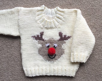 Reindeer sweater, hand knitted baby Christmas jumper with reindeer motif