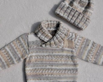 Age 1-2 years - hand knitted shawl neck jumper / sweater in snuggly Crofter double knit. Baby wear.