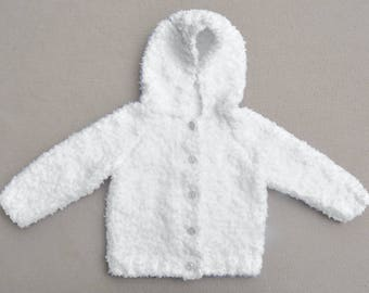 Soft and fluffy hand knitted baby cardigan with hood, hoodie. Baby knits, baby gift