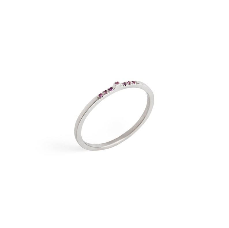 Dainty silver ring Delicate silver band Vintage silver band Pinky delicate ring Pave sapphires ring Silver pink sapphires band