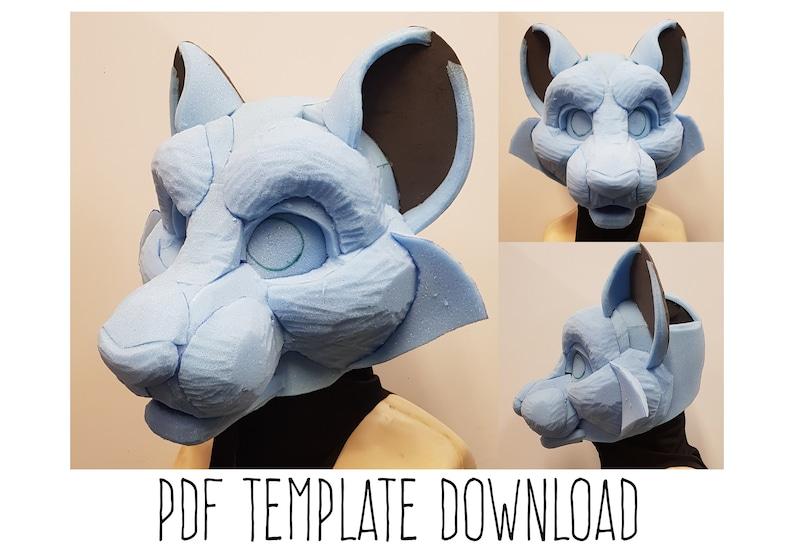 PDF TEMPLATE: Fursuit Head Base  Big Cat Digital Download image 0