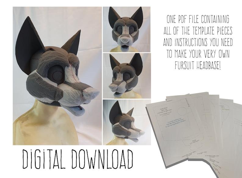 PDF TEMPLATE: Fursuit Head Base  Canine V2 Digital Download image 1