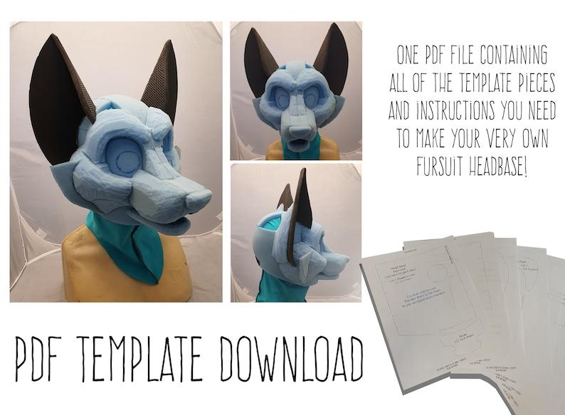 PDF TEMPLATE: Fursuit Head Base  Fox Digital Download image 0