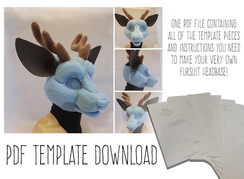 PDF TEMPLATE: Fursuit Head Base  Deer Digital Download image 0