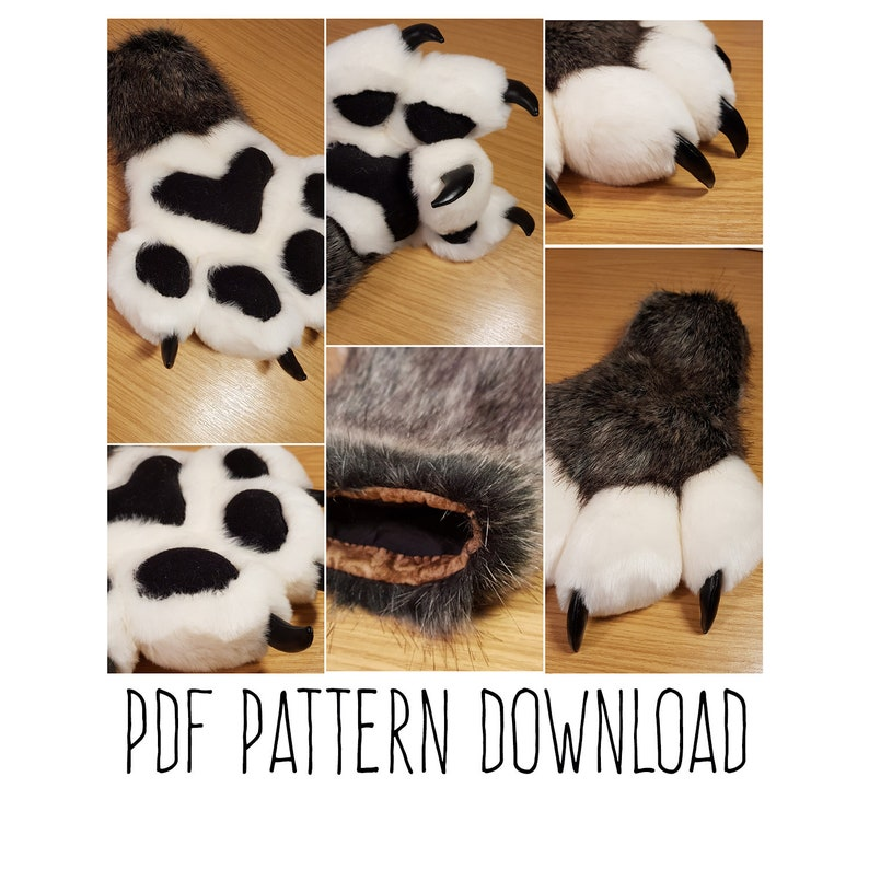 PDF TEMPLATE: Fursuit Puffy Paws Digital Download image 0