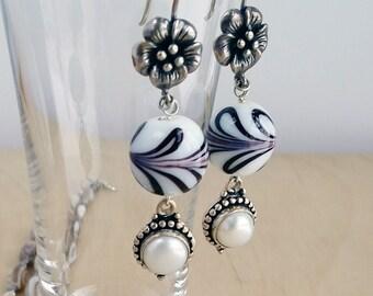 Pearls in Silver & Italian Glass Earrings