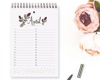 Perpetual Calendar Leaves / Date Keeper / Date Organizer / Perpetual Planner / Planner Pages / Calendar / Birthday Dates / Anniversary