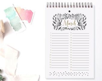 Perpetual Calendar Moonlight / Date Keeper / Date Organizer / Perpetual Planner / Planner Pages / Calendar / Birthday Dates / Anniversary