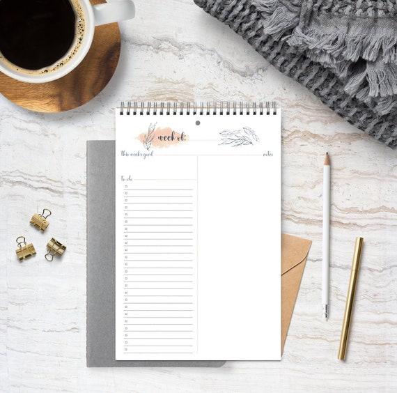 Weekly Organizer Vivian / To-Do List / 2019 Calendar / 2019 Weekly Planner  / Planner / Organizer / Floral Calendar / Notes / Notebook / Gift