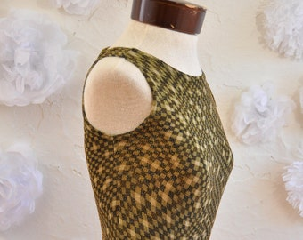The Isabella: Vintage 90s Glitter Square Neck Checkered Tank with Back Detail