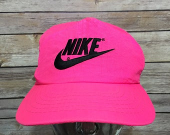 a2901f32 RARE Vintage 80s Nike Neon Pink Nylon Snapback Hat