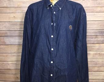 9c1a3908a0 Vintage Abercrombie and Fitch Denim Button Up Shirt (L)
