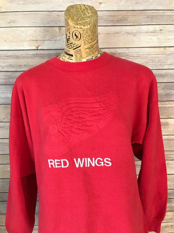 Vintage Detroit Red Wings Big Logo Crewneck Sweatshirt L  48a524214