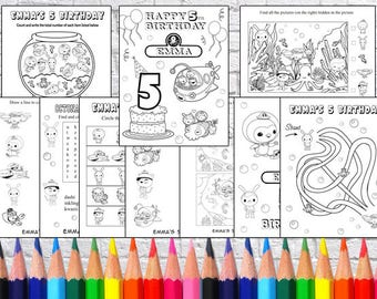 Personalized Octonauts Party coloring pages, PDF file - NOT instant download!