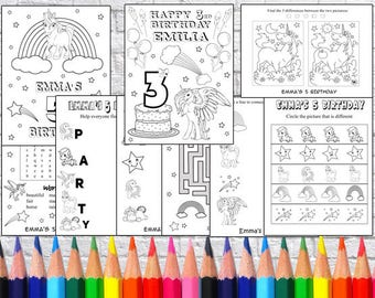 Personalized Unicorn Party coloring pages, PDF file - NOT instant download!