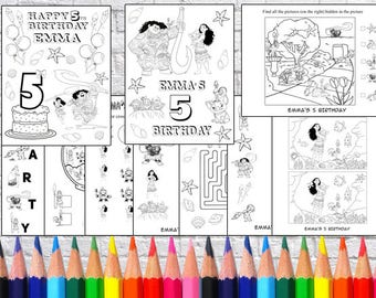 Personalized Moana Birthday Party coloring pages, PDF file - NOT instant download!