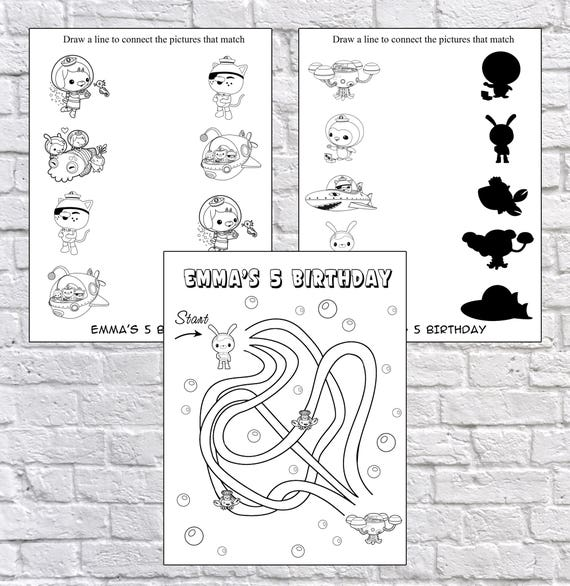 Personalized Octonauts Party coloring pages PDF file NOT   Etsy